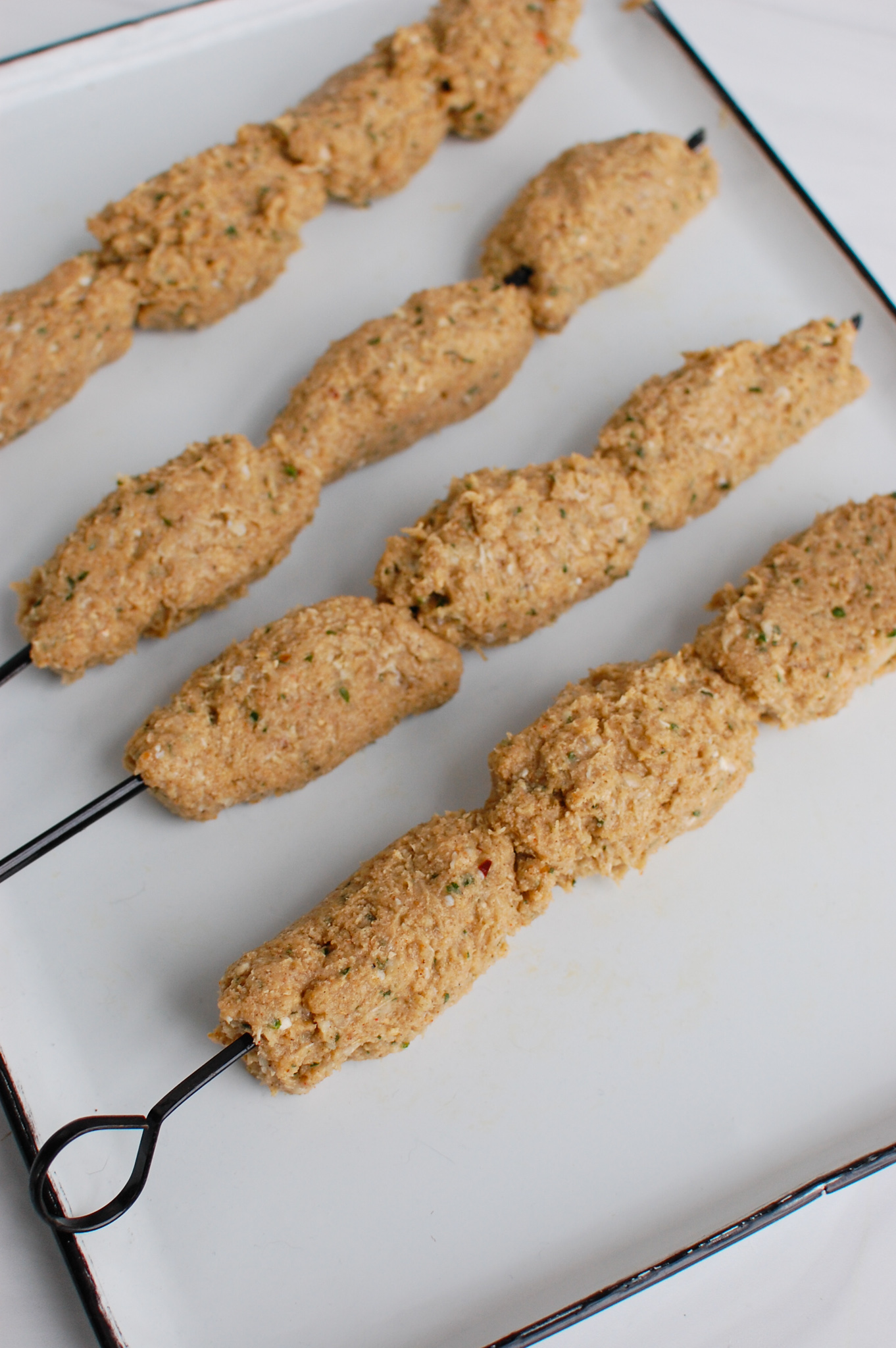 Chicken Kofta formed skewers
