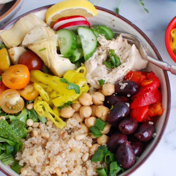 Greek Quinoa Bowl Recipe with hummus