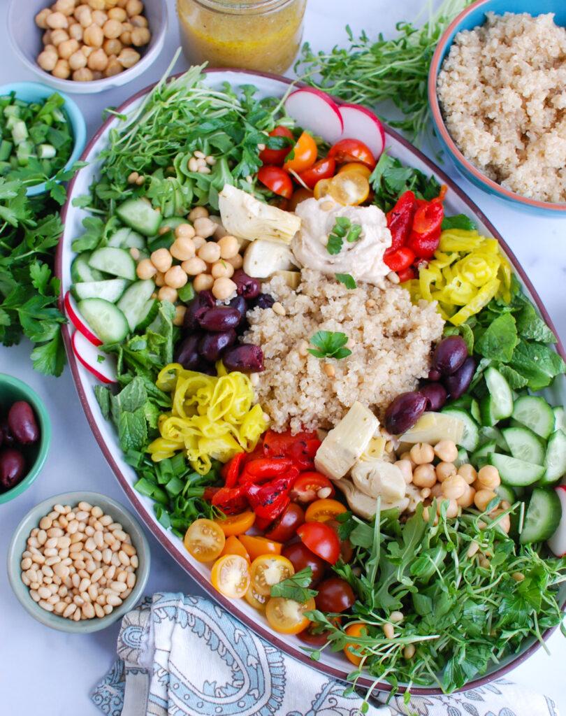 Greek Quinoa Bowl Recipe on platter