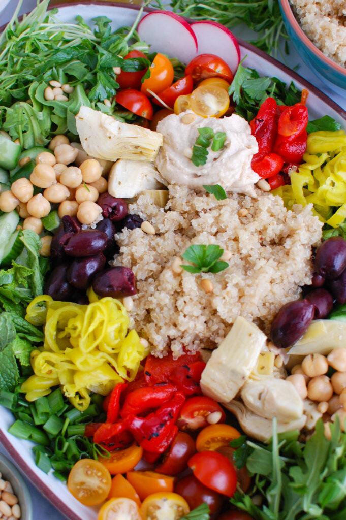 Greek Quinoa Bowl Recipe with greens
