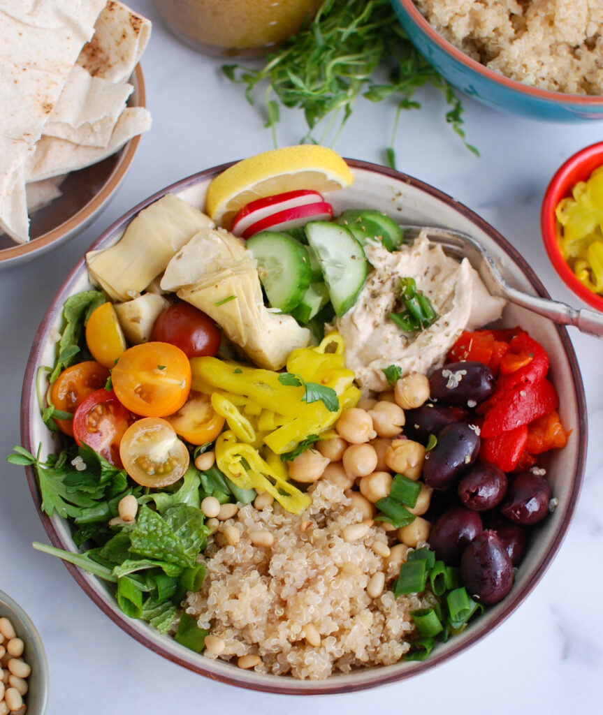 Greek Quinoa Bowl with vegetables