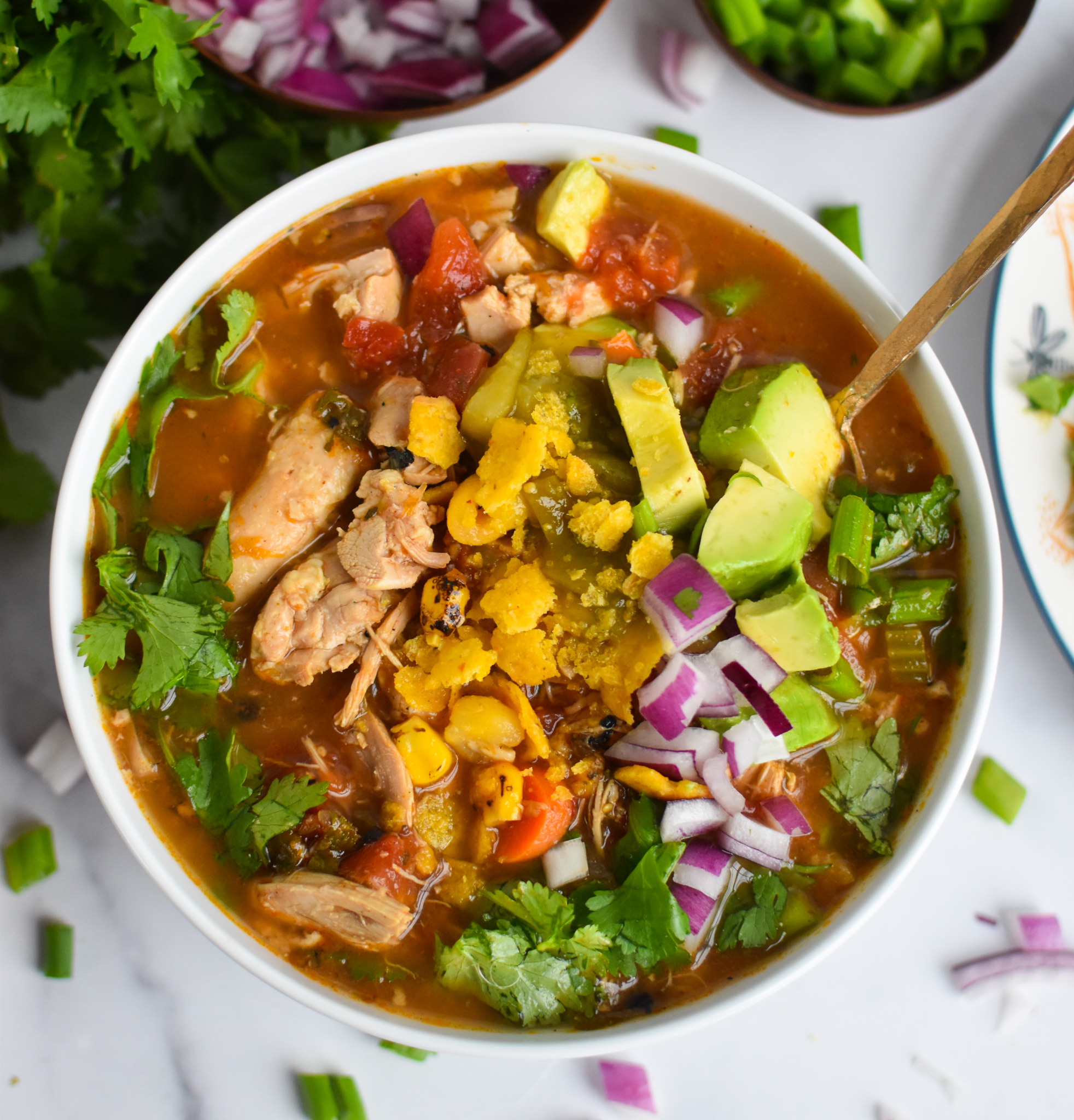 Green Chili Chicken Soup with avocado