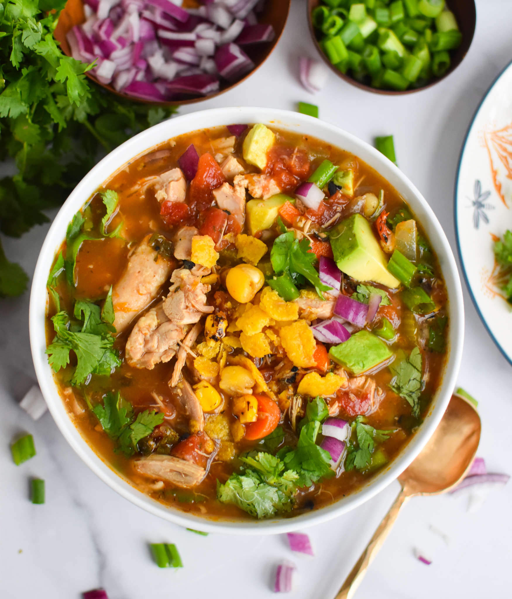 Green Chili Chicken Soup in white bowl