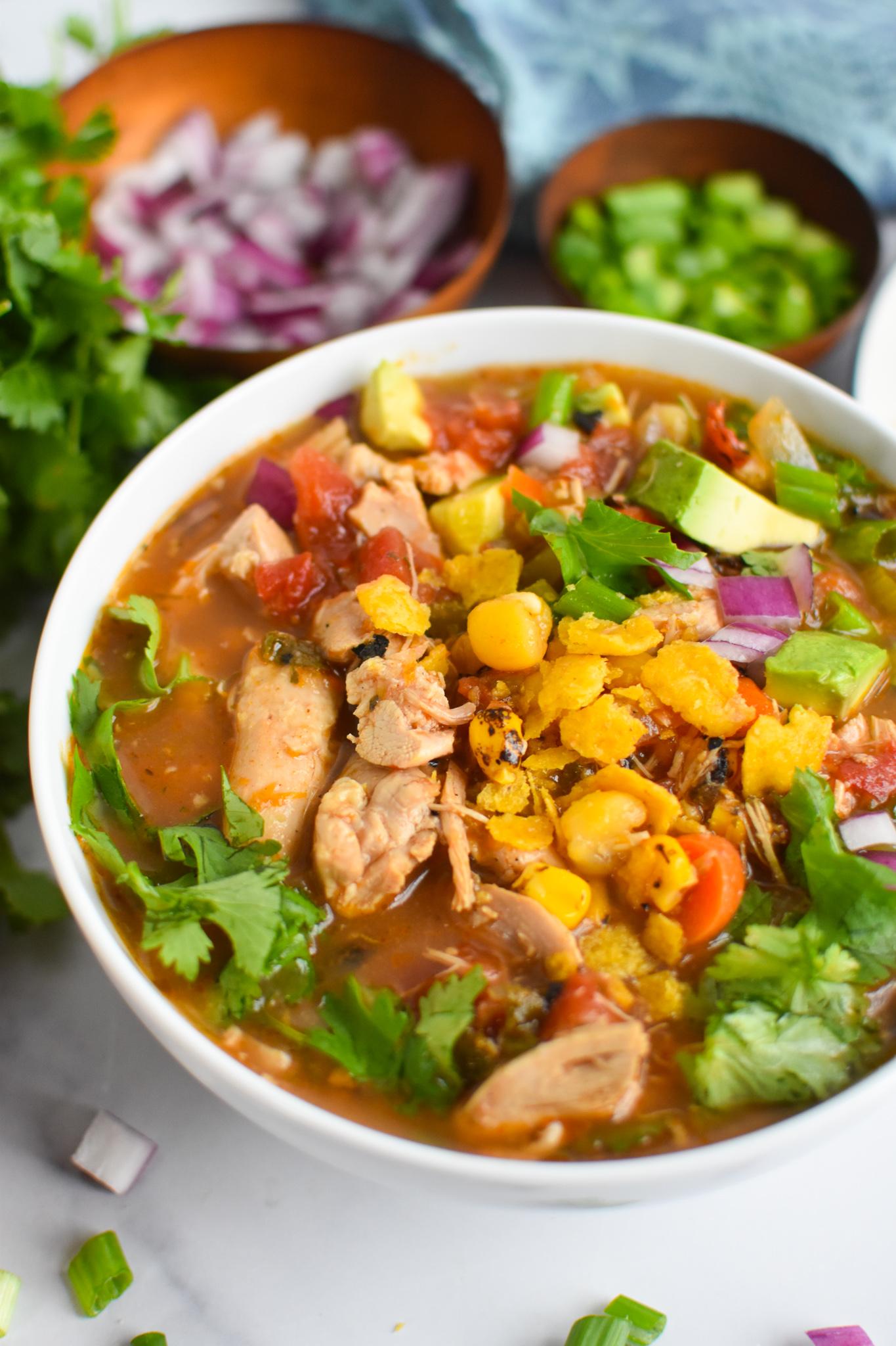 Green Chili Chicken Soup with cilantro