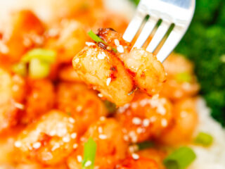 Honey Garlic Sriracha Shrimp with fork