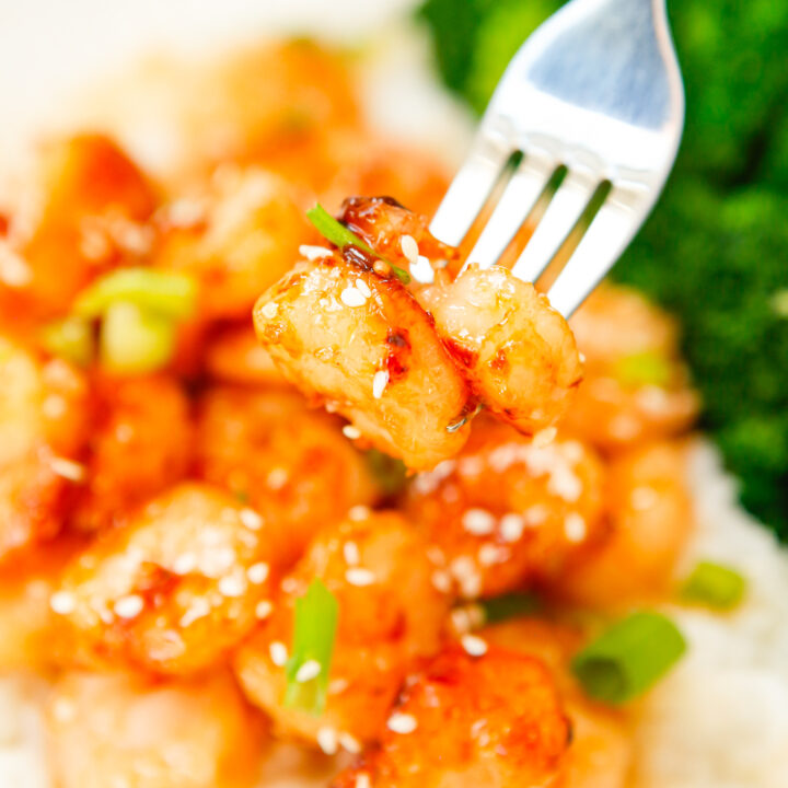 Honey Garlic Sriracha Shrimp with fork