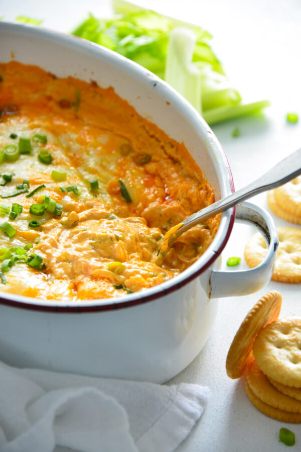 How to Make Buffalo Chicken Dip with spoon