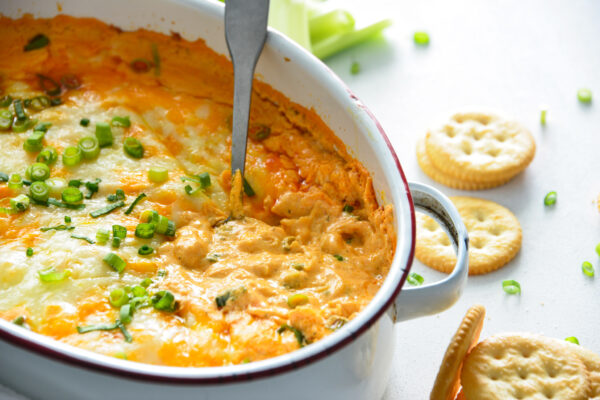 How to Make Buffalo Chicken Dip in a white dish