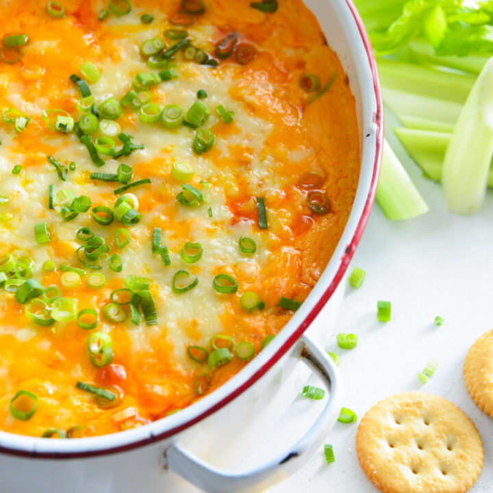 How to Make Buffalo Chicken Dip with green onions