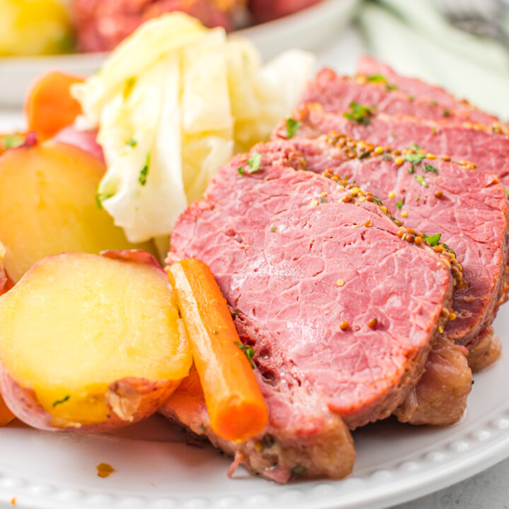 Instant Pot Corned Beef and Cabbage on plate