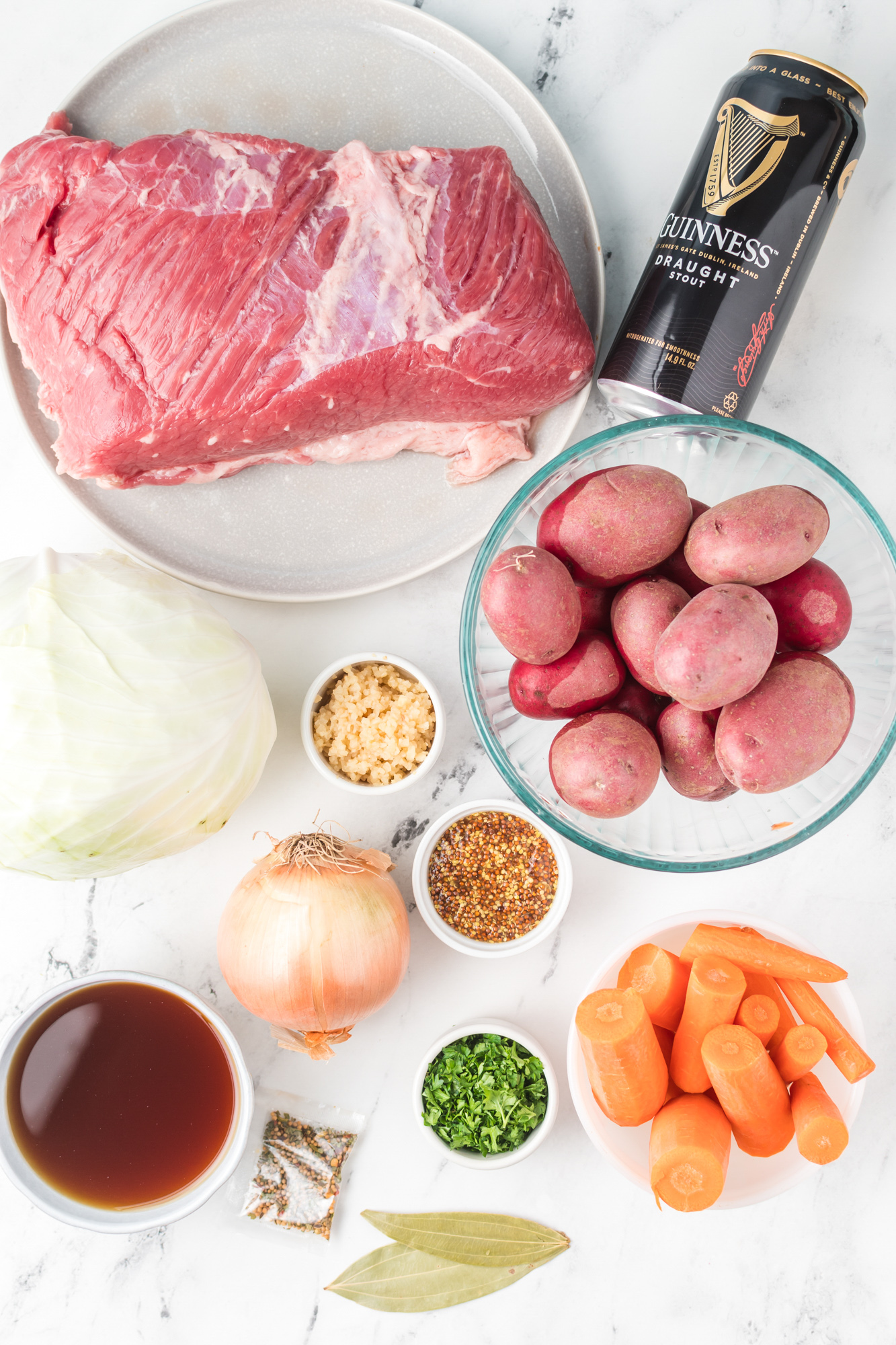 Instant Pot Corned Beef and Cabbage ingredients