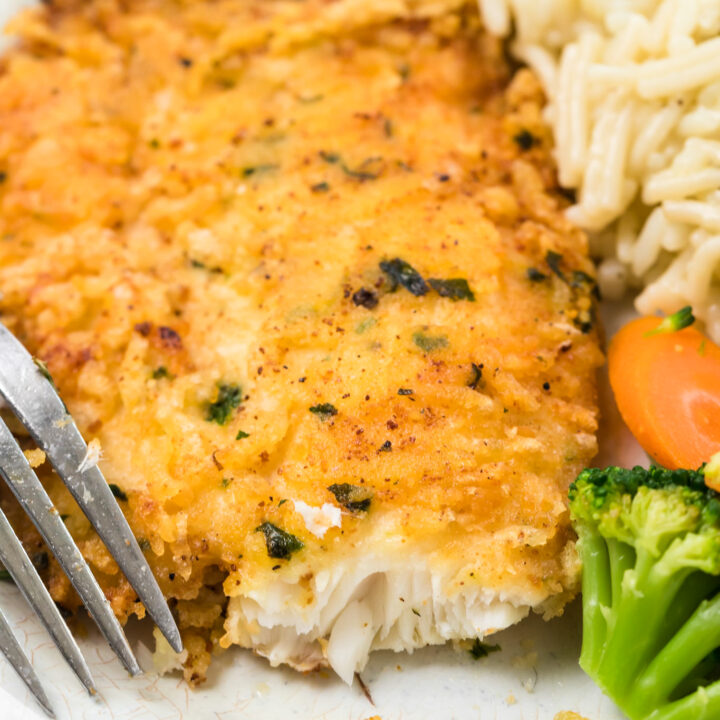 Parmesan Crusted Tilapia with fork