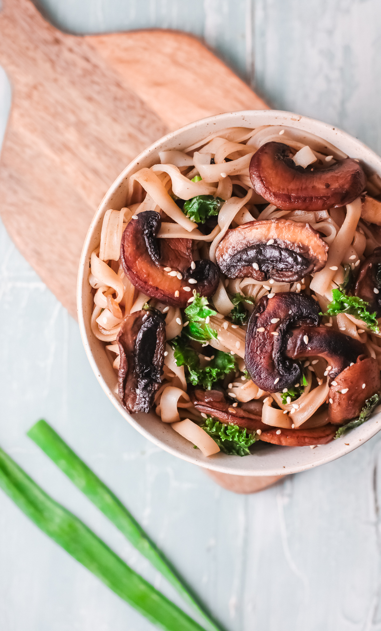 Easy Korean Noodles Recipe with green onions.