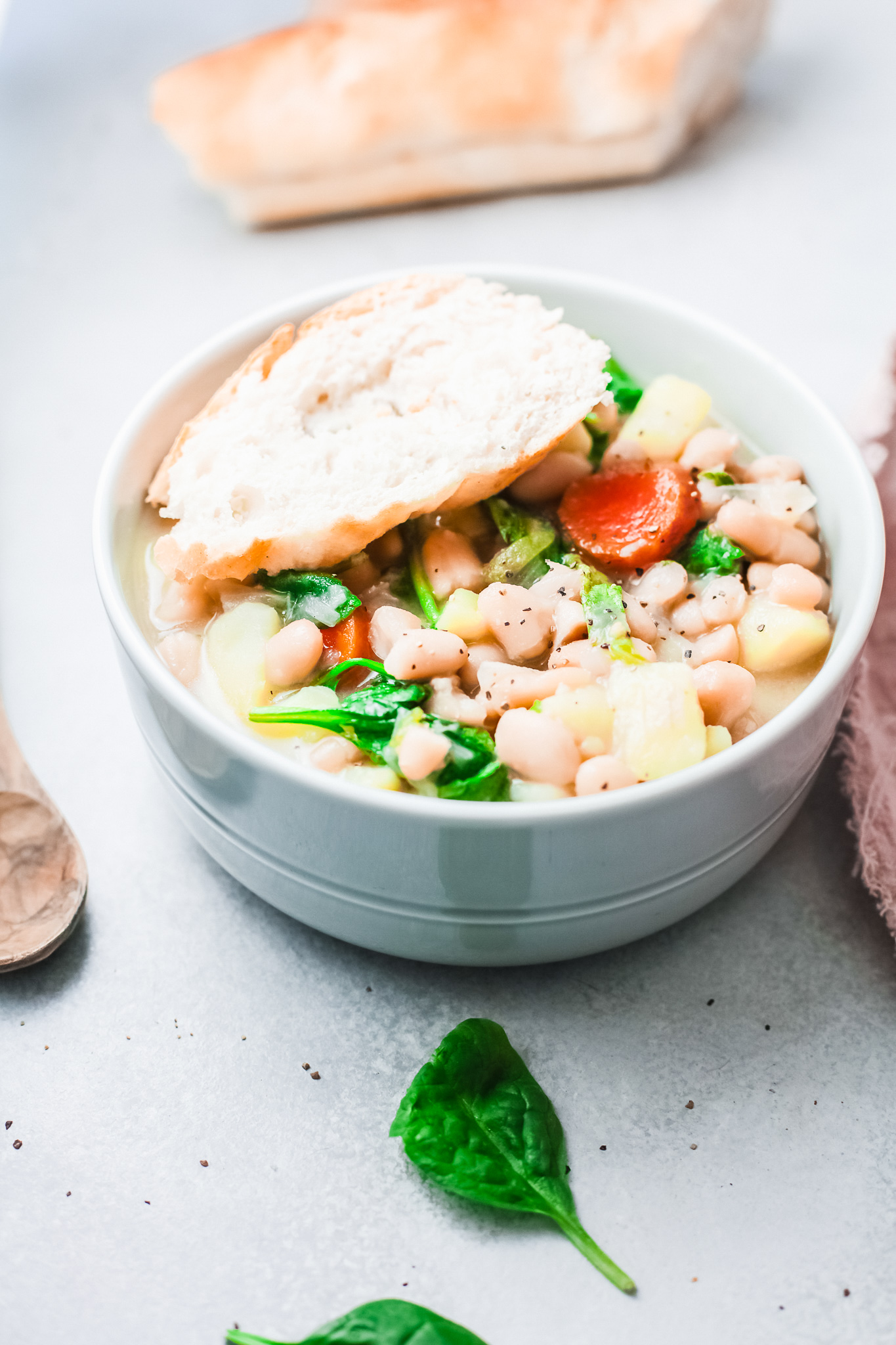 Instant Pot Bean Soup with bread.