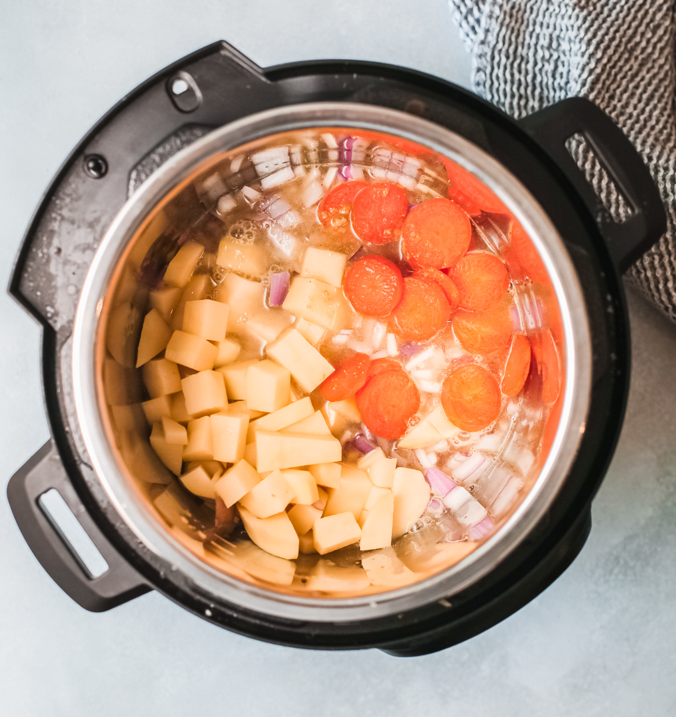 Instant Pot Bean Soup with carrots and red onion.