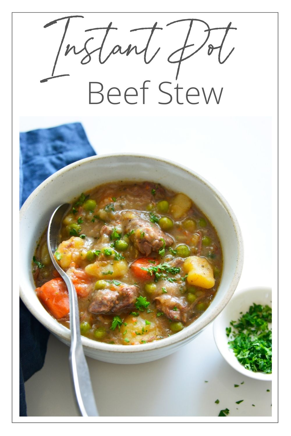 Instant Pot Beef Stew with logo.