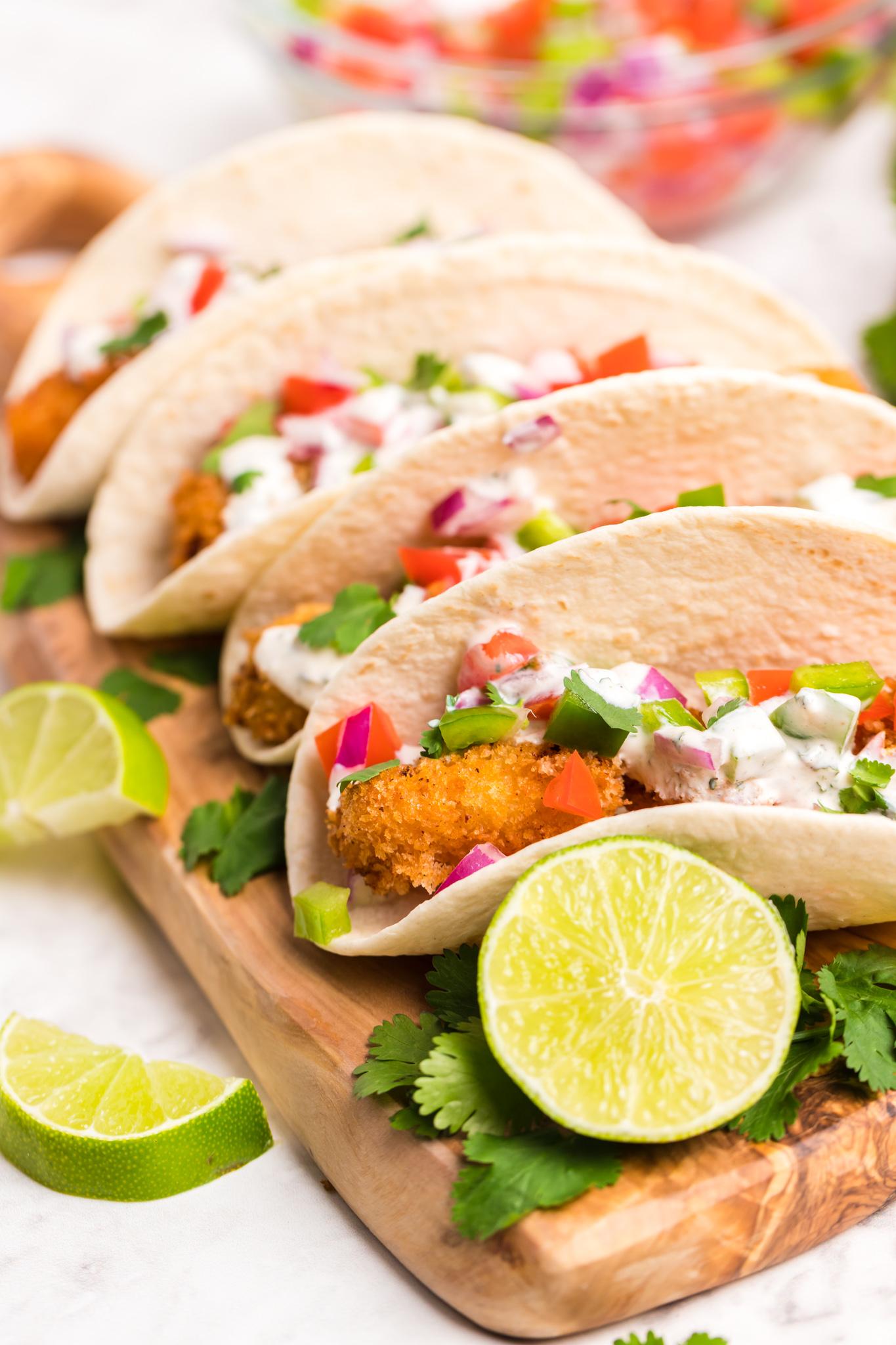 Air Fryer Tilapia tacos with salsa.