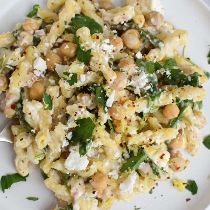 Chickpea Pasta Recipe with Feta on a white plate.