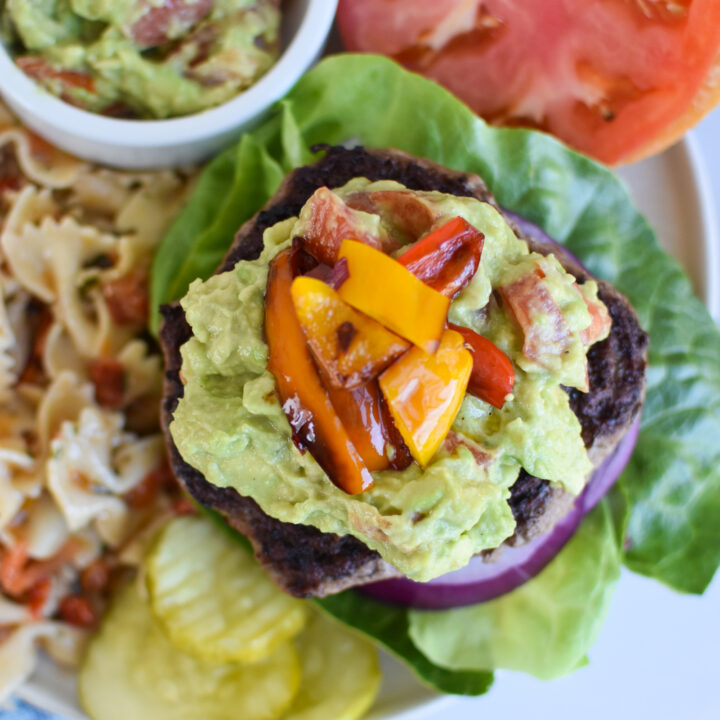 Easy Avocado Burger with peppers.