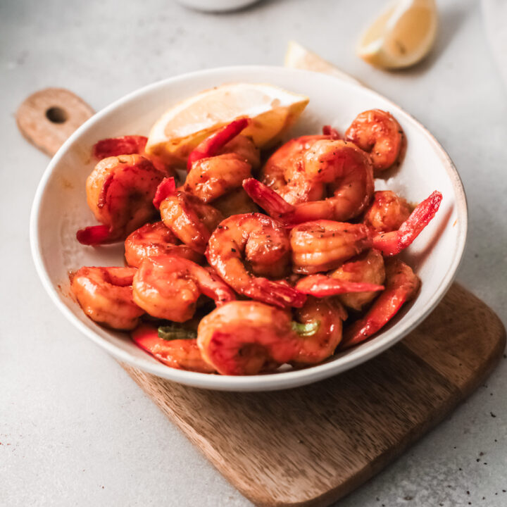 Easy Cajun Shrimp Recipe in a dish.