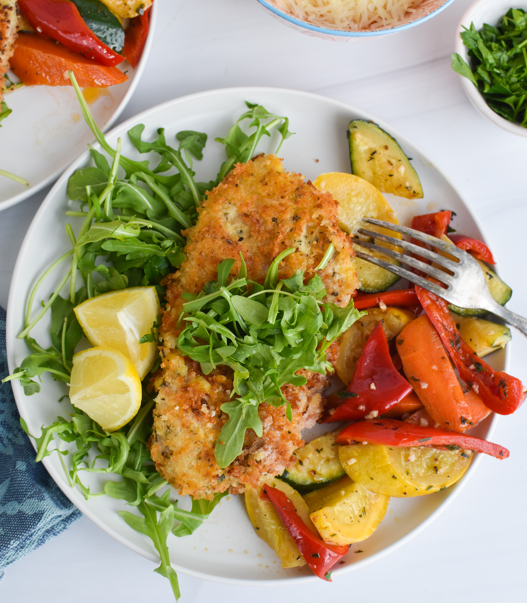 Easy Veal Milanese Recipe with vegetables.