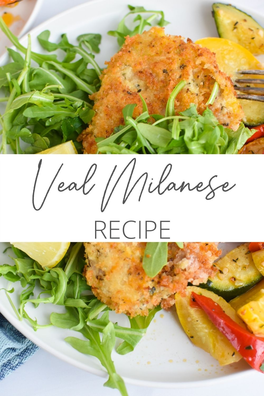 Easy Veal Milanese Recipe with logo.