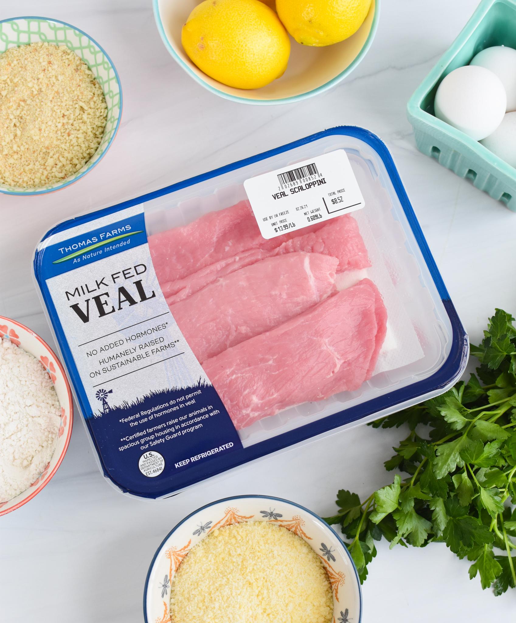 Easy Veal Milanese Recipe ingredients.