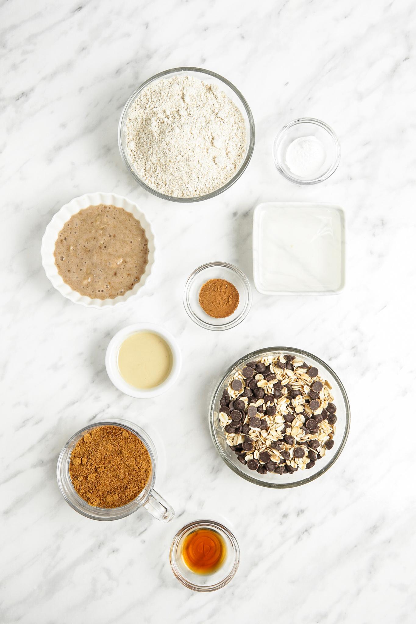 Homemade Banana Oatmeal Cookies ingredients.