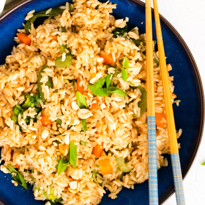 Instant Pot Fried Rice in a blue bowl.