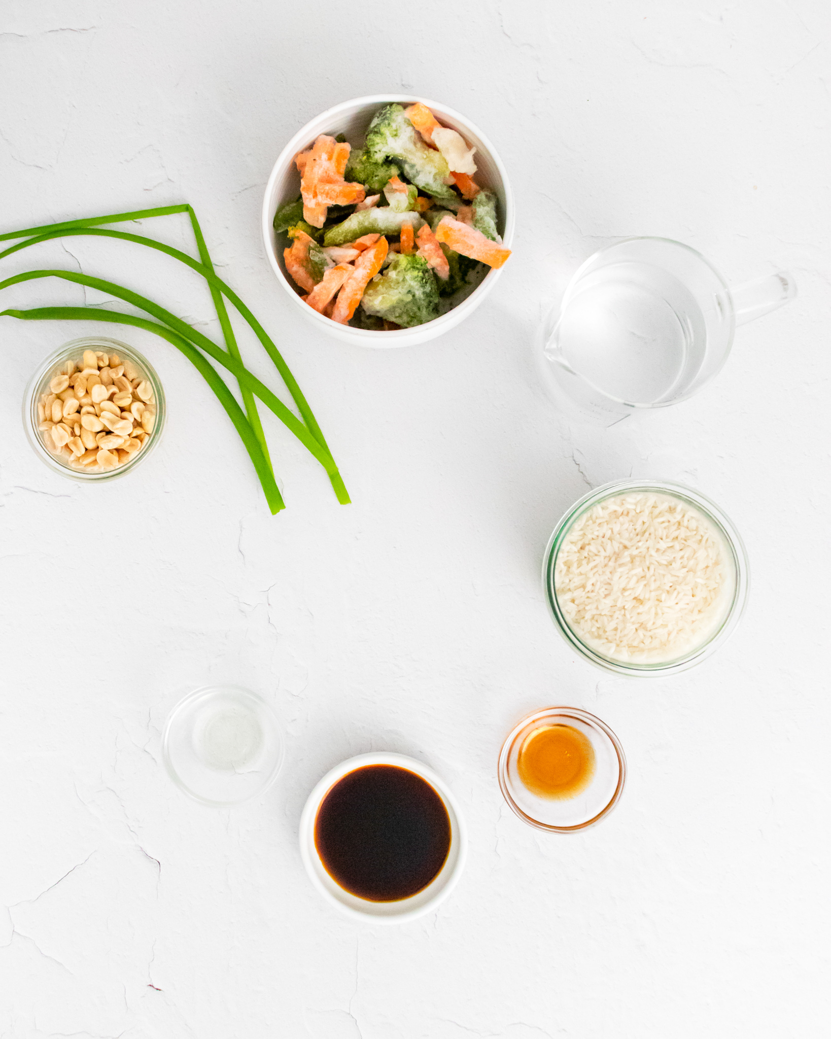 Instant Pot Fried Rice ingredients.
