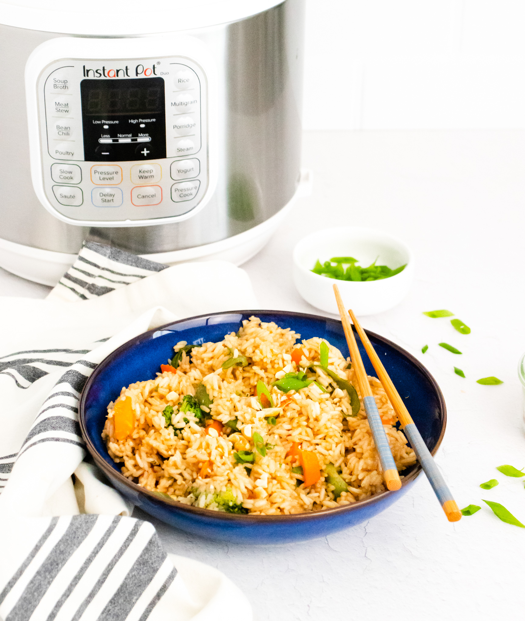 Instant Pot Fried Rice with Instant Pot in background.