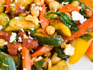 Mediterranean Chickpea Skillet with feta cheese.