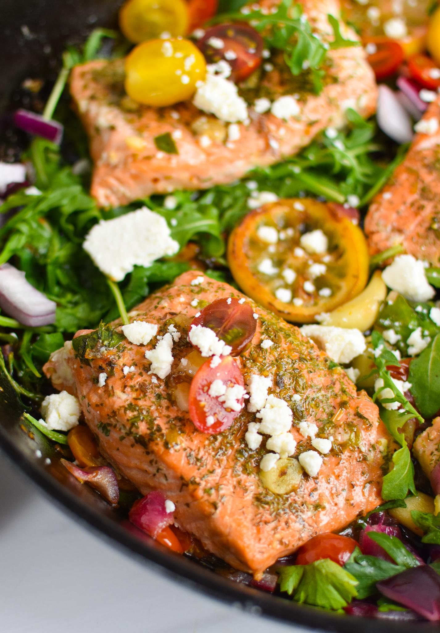 Pan Seared Greek Salmon with tomatoes.
