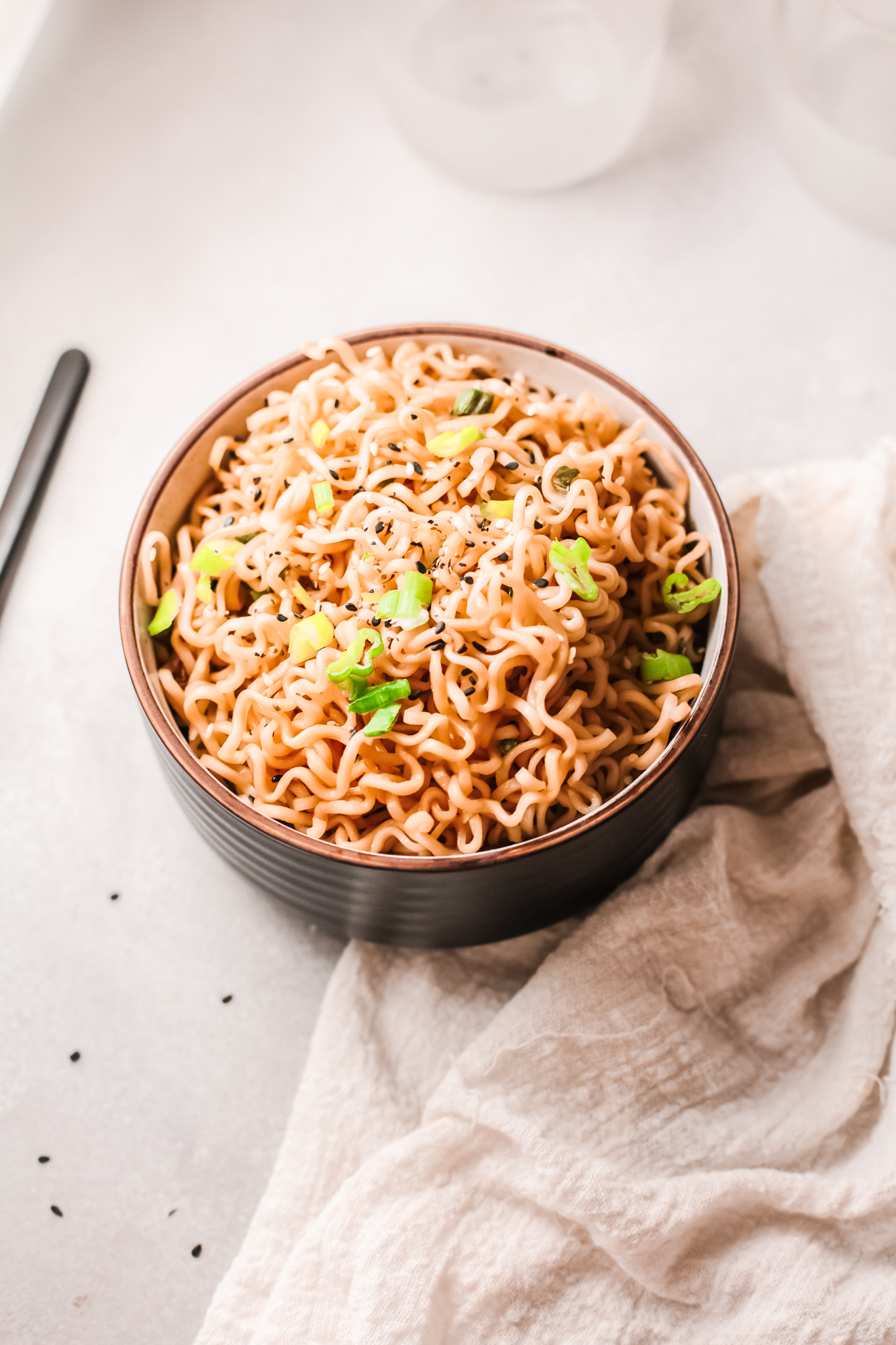 Spicy Ramen Noodle Recipe with green onions.