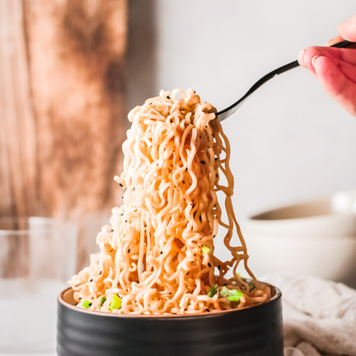 Spicy Ramen Noodle with fork.
