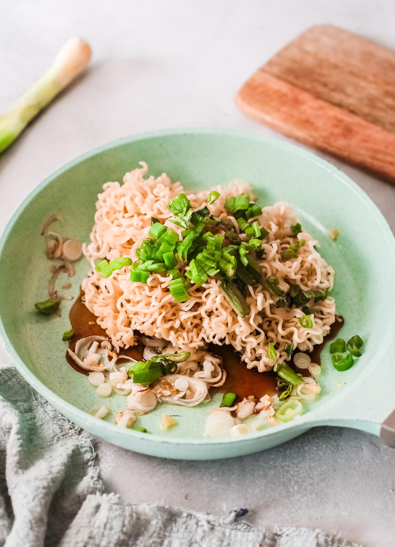 Spicy Ramen Noodle Recipe with onions.