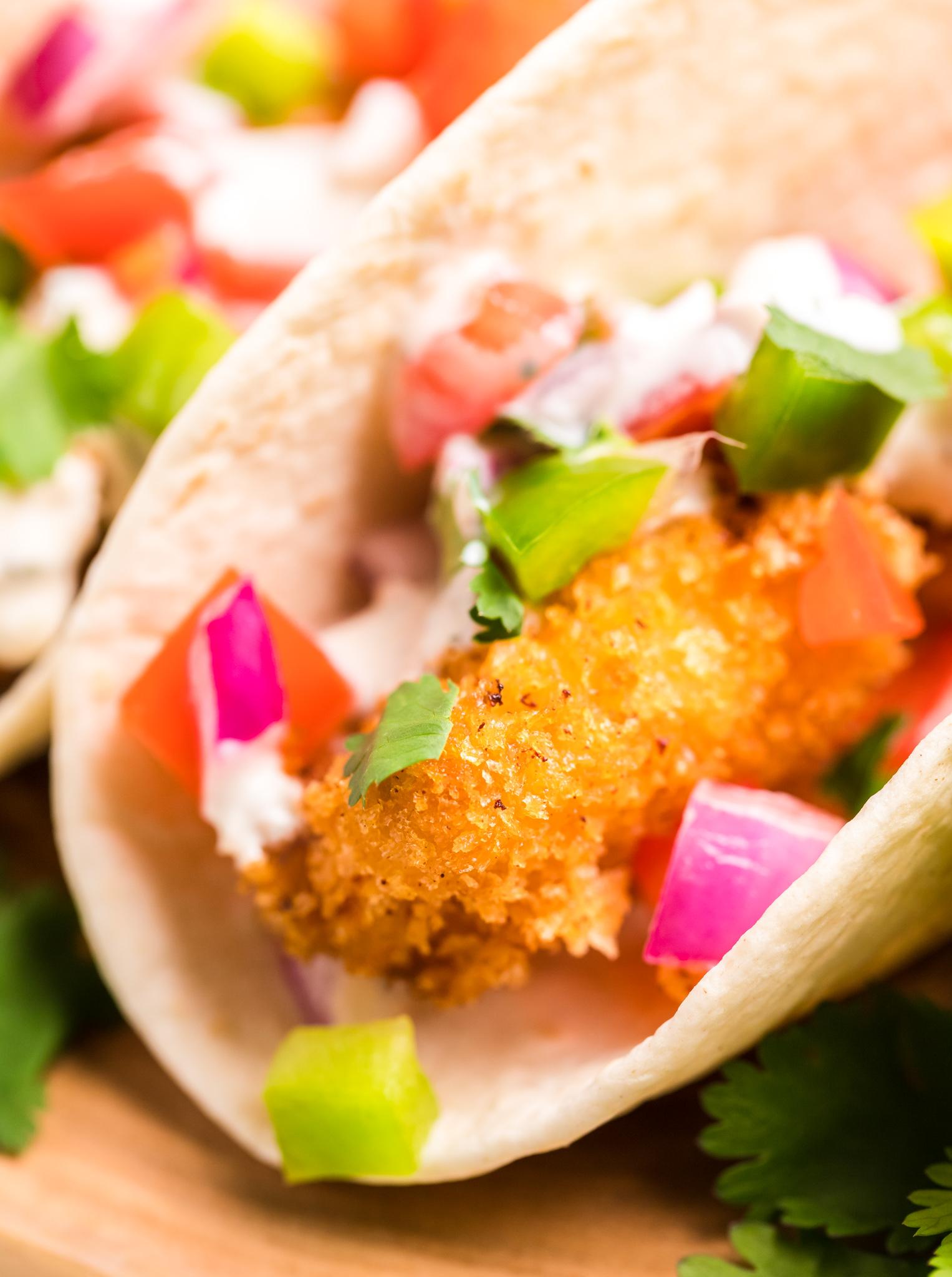 Tilapia Fish Taco Recipe with tomato.
