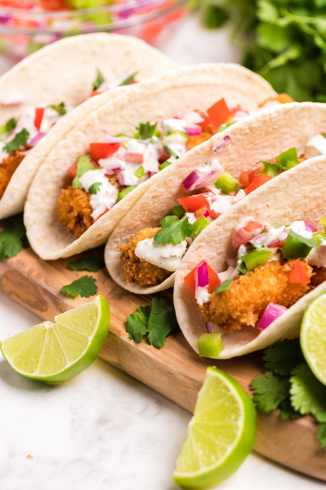 Tilapia Fish Taco Recipe in taco shells.