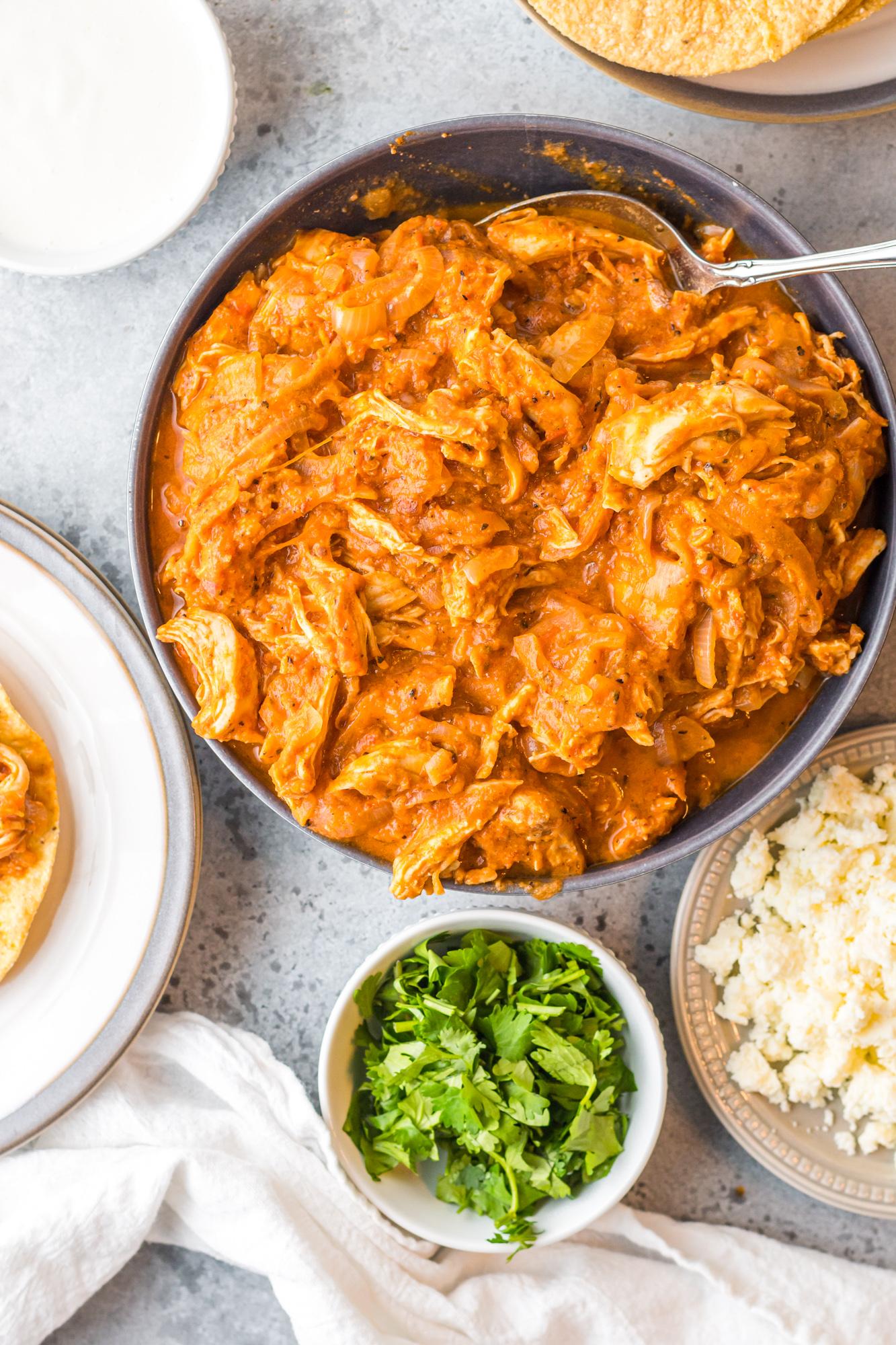 Chicken Tinga Recipe with cilantro and rice.