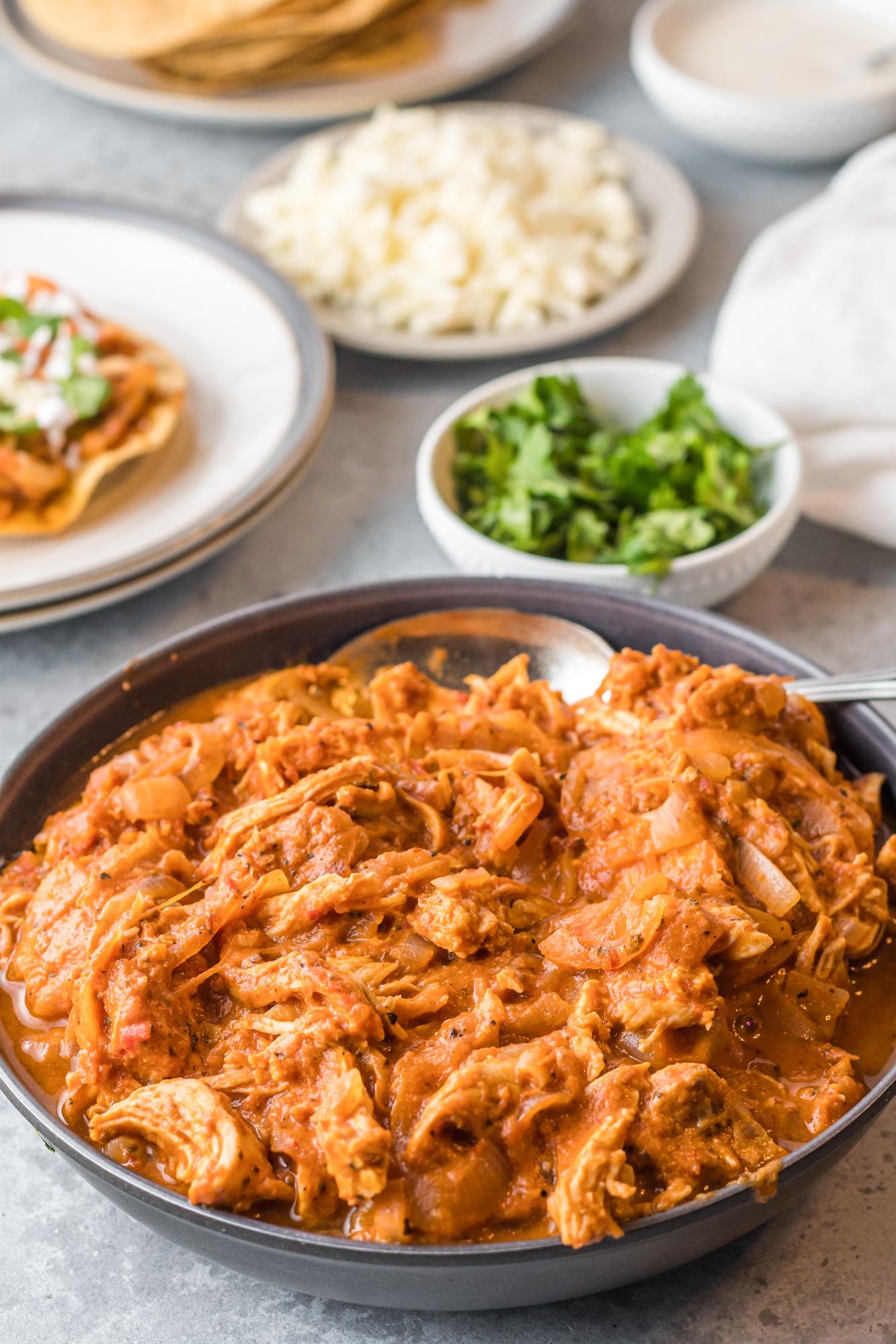 Chicken Tinga Recipe with cilantro.