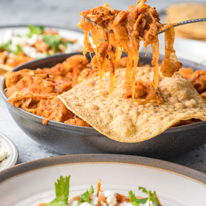 Chicken Tinga Recipe with spoon of chicken.