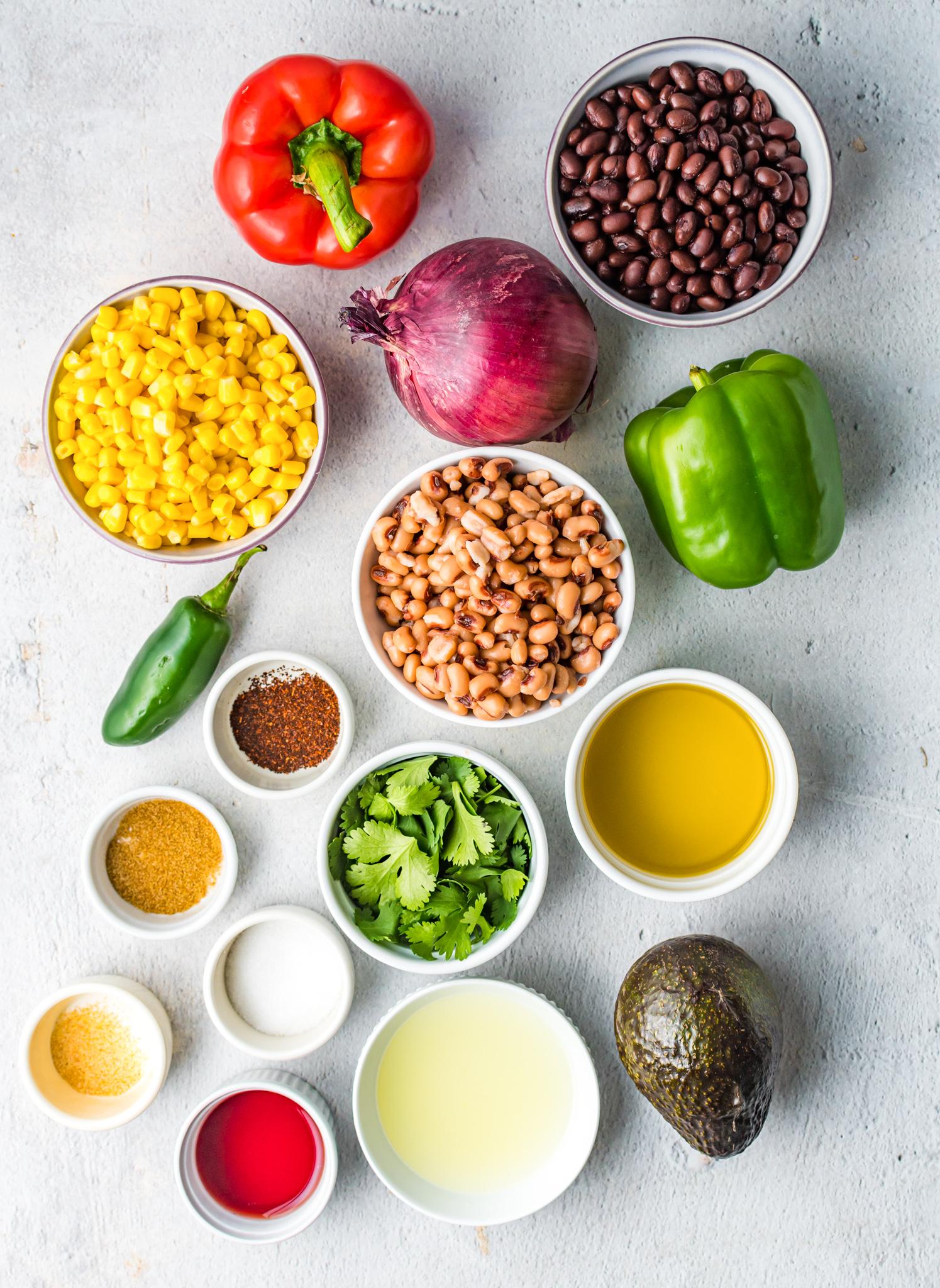 Cowboy Caviar Recipe ingredients.