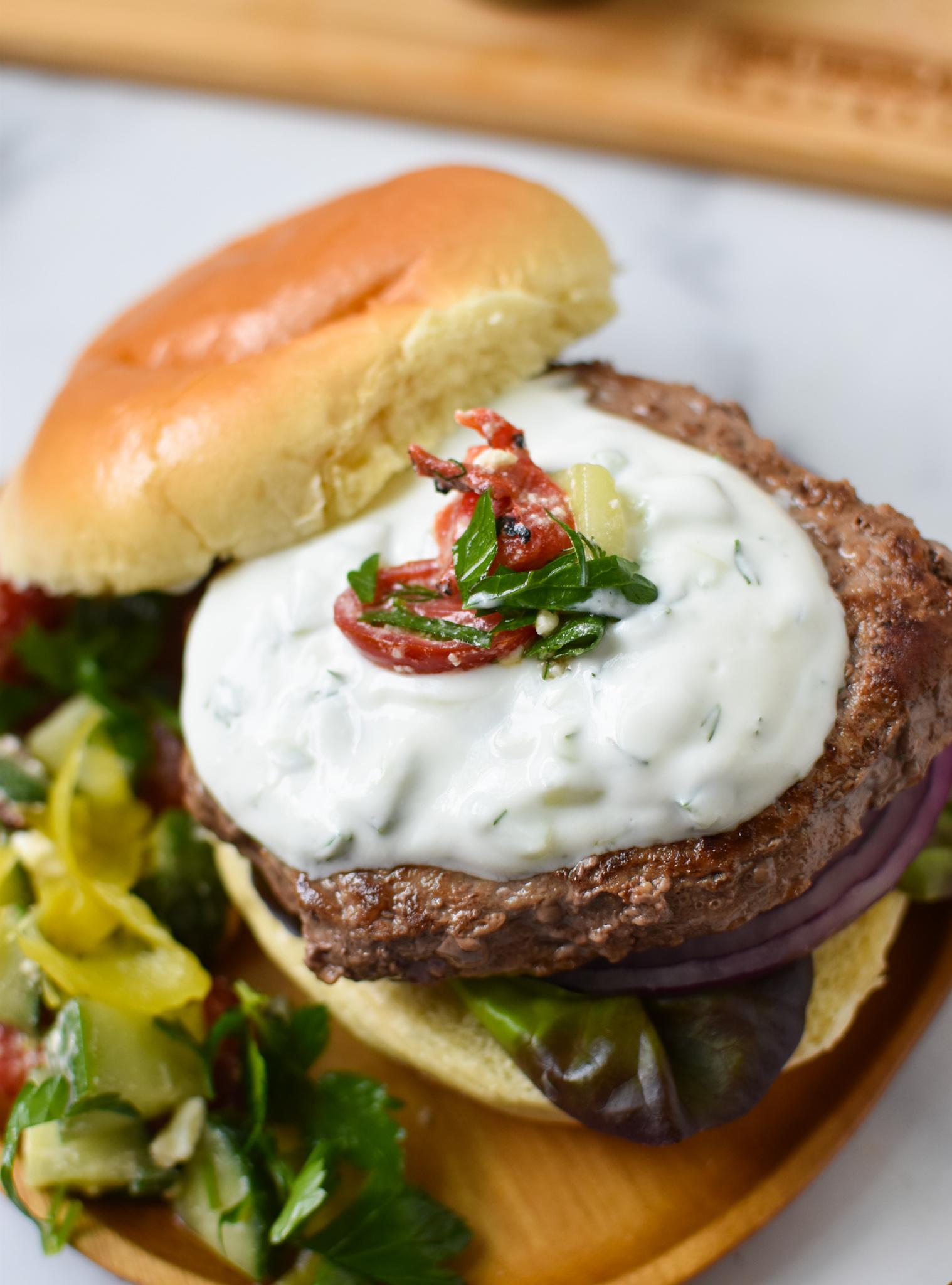 Easy Greek Burger Recipe with tzatziki.