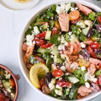 Mediterranean Salmon Bowl with spoon.