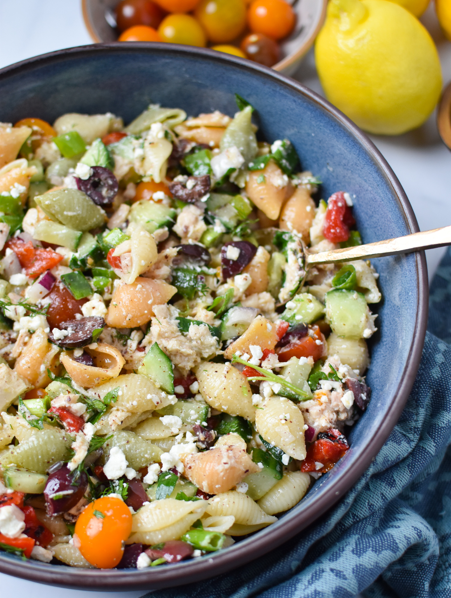 Mediterranean Tuna Pasta Salad in a blue bowl.