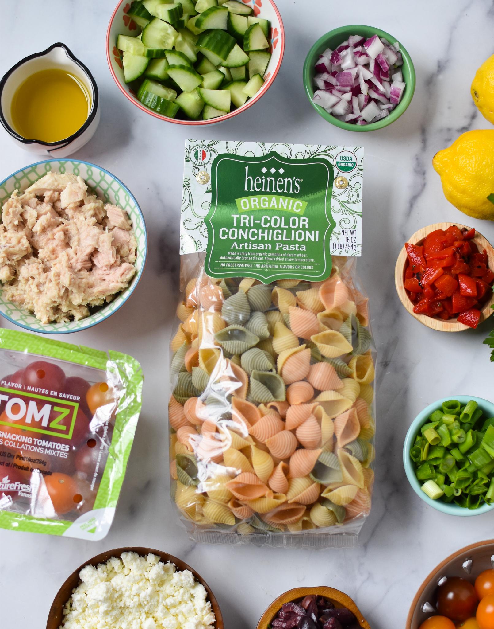 Mediterranean Tuna Pasta Salad ingredients.