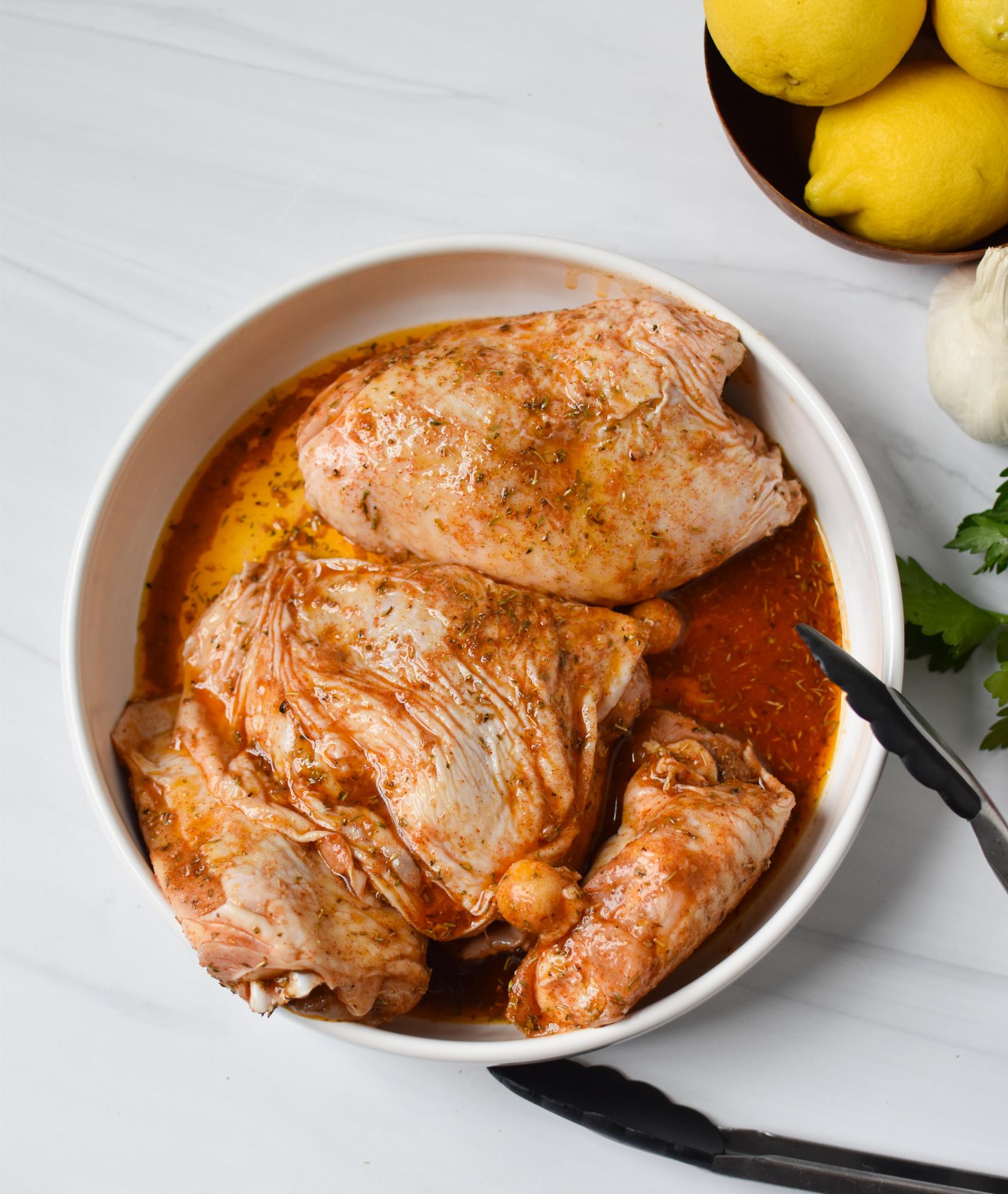 Air Fryer Mediterranean Chicken Thighs in a bowl.