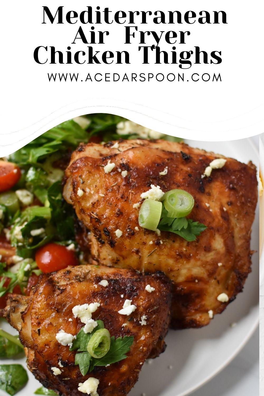 Air Fryer Mediterranean Chicken Thighs with logo.