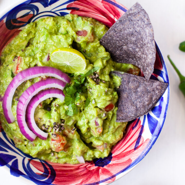 Easy Guacamole Recipe with chips.