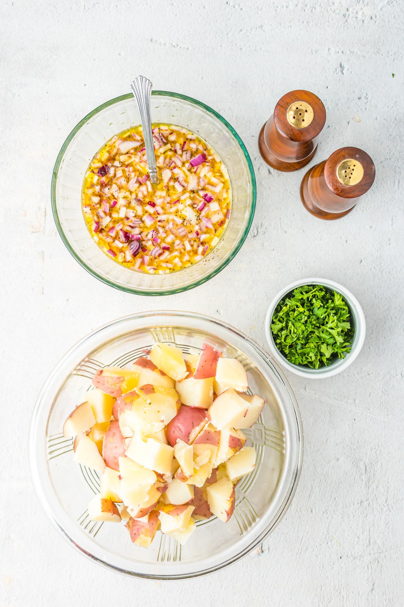 German Potato Salad Recipe potatoes in bowl.
